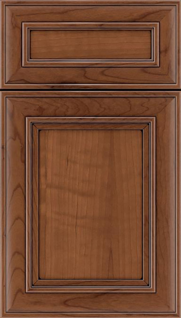 Sheffield 5pc Cherry recessed panel cabinet door in Nutmeg with Black glaze