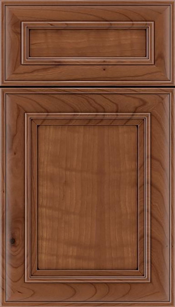 Sheffield 5pc Cherry recessed panel cabinet door in Nutmeg with Mocha glaze
