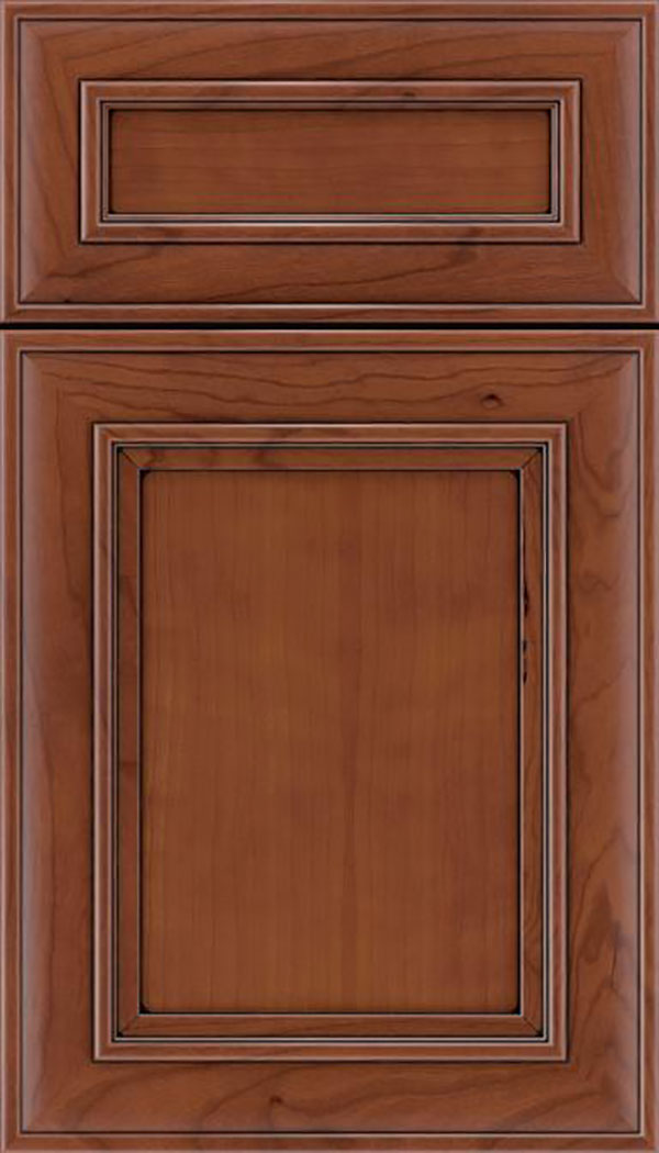 Sheffield 5pc Cherry recessed panel cabinet door in Russet with Black glaze