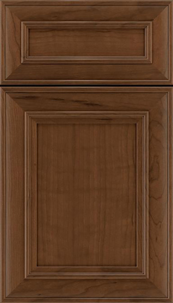 Sheffield 5pc Cherry recessed panel cabinet door in Sienna
