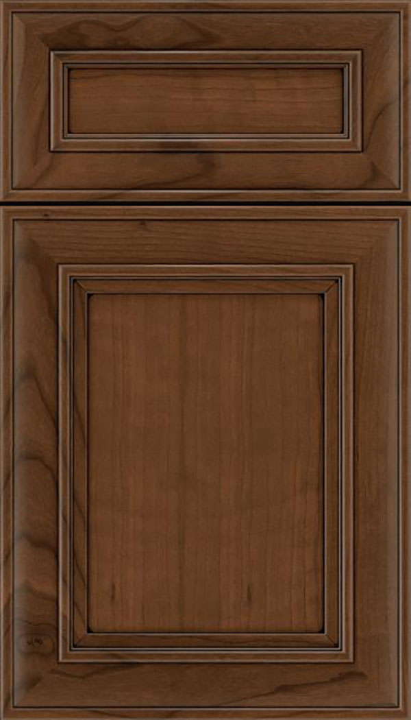 Sheffield 5pc Cherry recessed panel cabinet door in Sienna with Black glaze