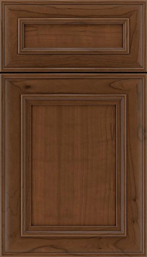 Sheffield 5pc Cherry recessed panel cabinet door in Sienna with Mocha glaze