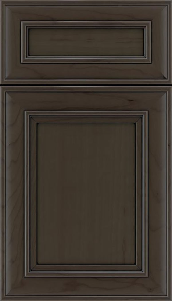 Sheffield 5pc Cherry recessed panel cabinet door in Thunder with Black glaze