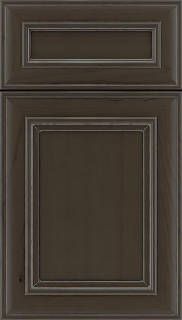 Sheffield 5pc Cherry recessed panel cabinet door in Thunder with Pewter glaze