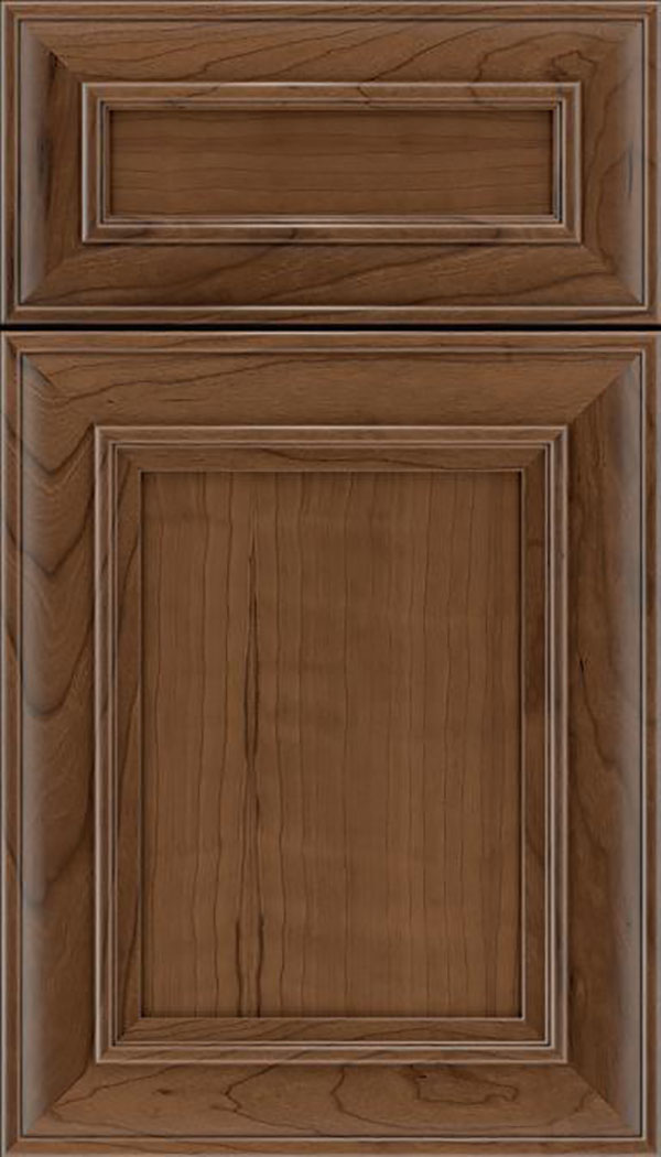 Sheffield 5pc Cherry recessed panel cabinet door in Toffee