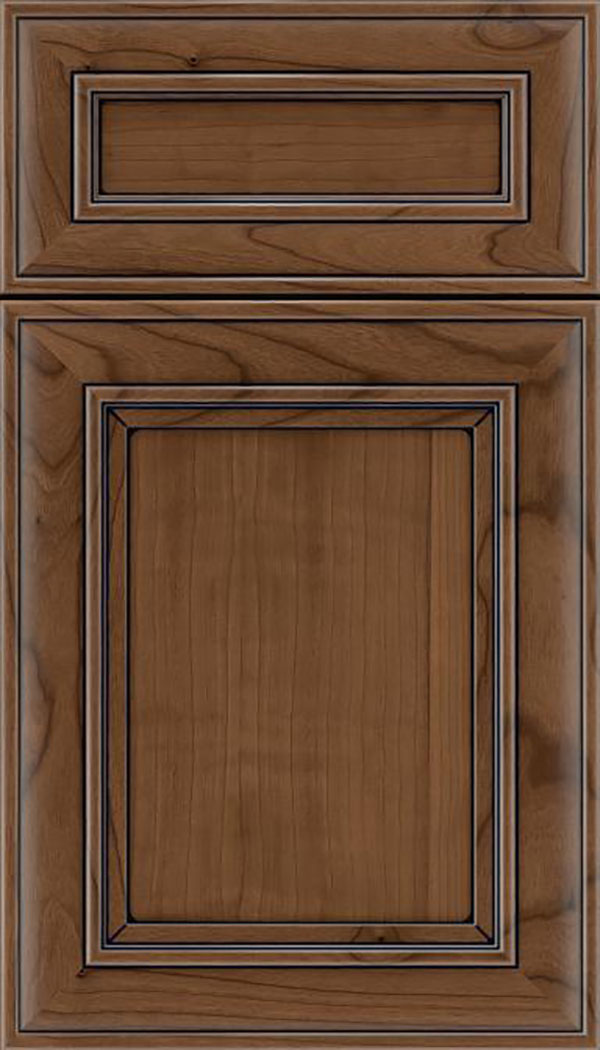 Sheffield 5pc Cherry recessed panel cabinet door in Toffee with Black glaze