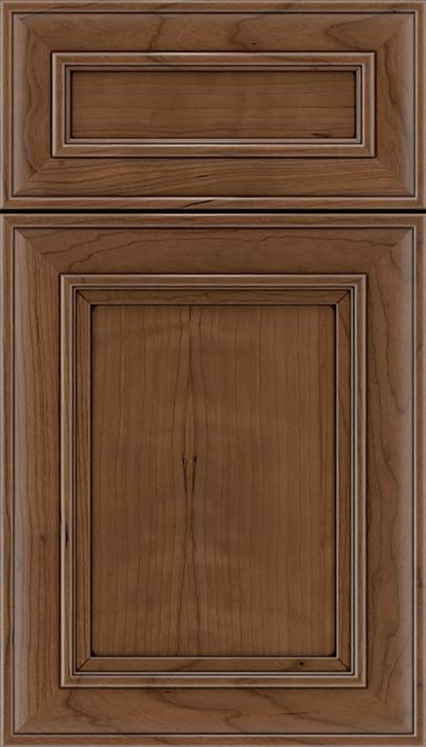 Sheffield 5pc Cherry recessed panel cabinet door in Toffee with Mocha glaze