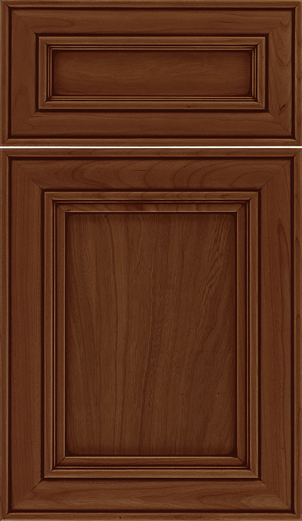 Sheffield 5pc Cherry recessed panel cabinet door in Tuscan