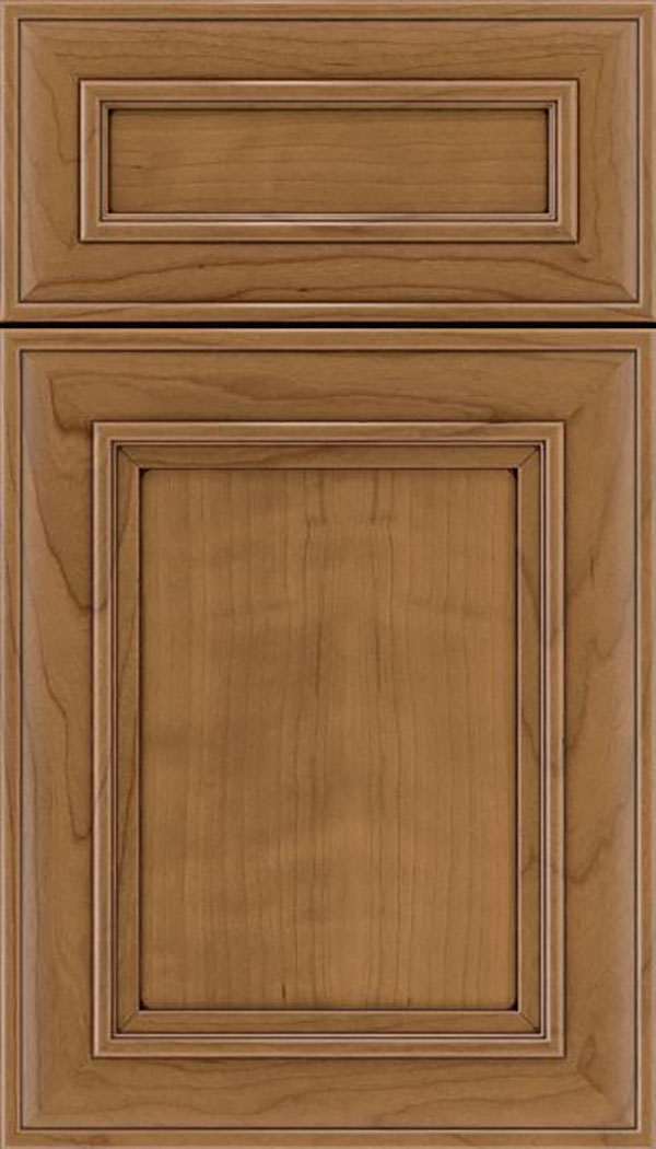 Sheffield 5pc Cherry recessed panel cabinet door in Tuscan with Mocha glaze