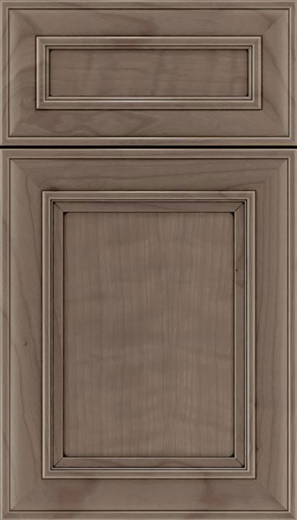 Sheffield 5pc Cherry recessed panel cabinet door in Winter with Black glaze