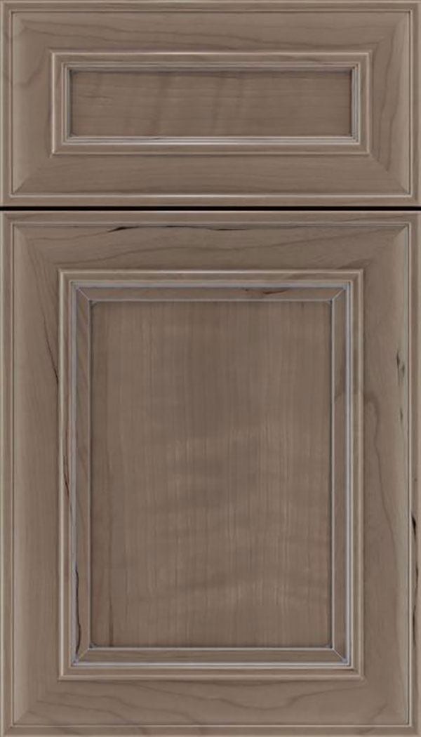 Sheffield 5pc Cherry recessed panel cabinet door in Winter with Pewter glaze