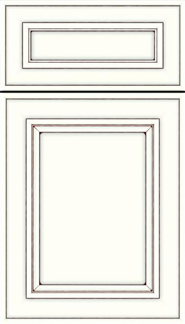 Sheffield 5pc Maple recessed panel cabinet door in Alabaster with Mocha glaze
