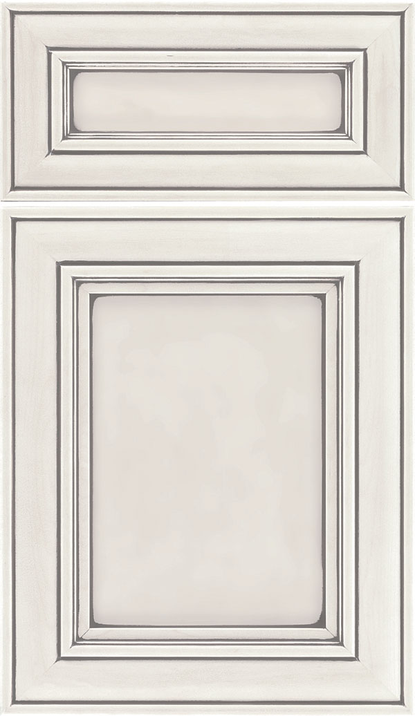 Sheffield 5pc Maple recessed panel cabinet door in Alabaster with Pewter glaze