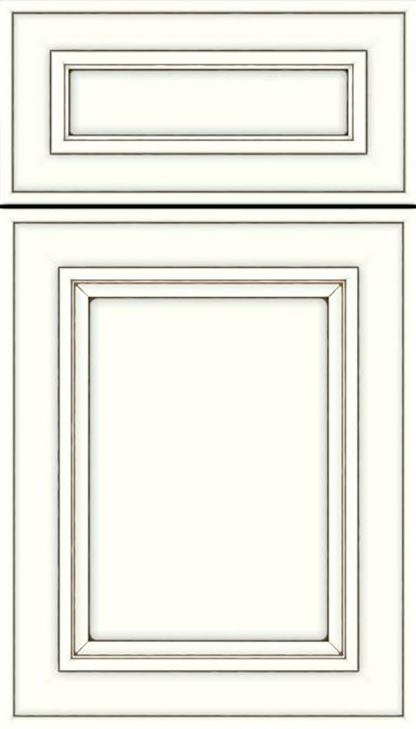 Sheffield 5pc Maple recessed panel cabinet door in Alabaster with Smoke glaze