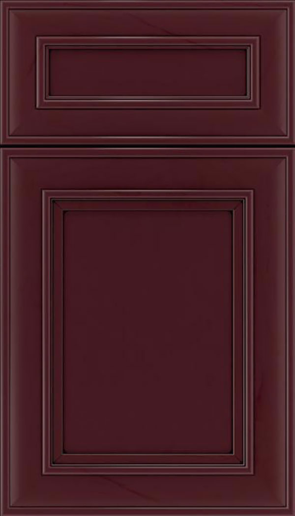 Sheffield 5pc Maple recessed panel cabinet door in Bordeaux with Black glaze