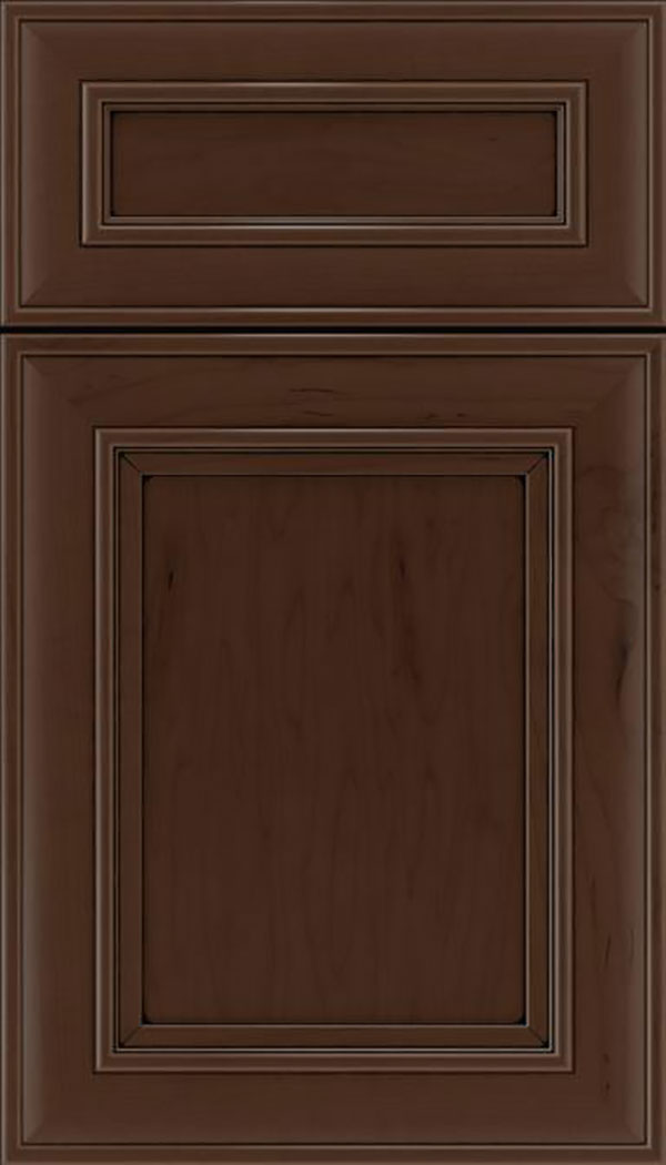 Sheffield 5pc Maple recessed panel cabinet door in Cappuccino with Black glaze