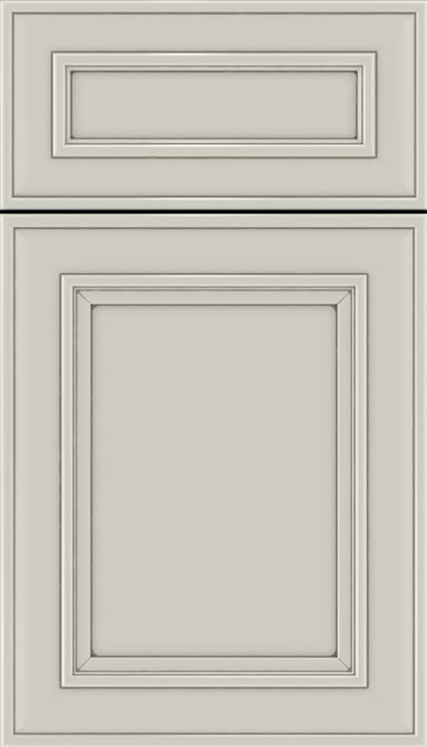 Sheffield 5pc Maple recessed panel cabinet door in Cirrus with Pewter glaze