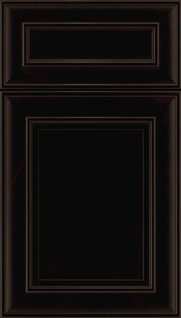 Sheffield 5pc Maple recessed panel cabinet door in Espresso with Black glaze