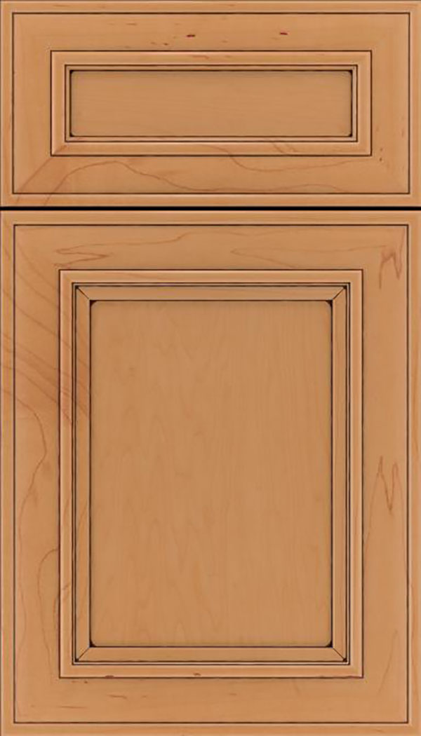 Sheffield 5pc Maple recessed panel cabinet door in Ginger with Black glaze