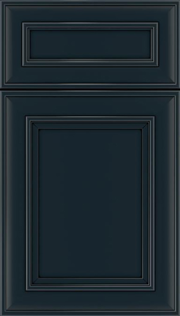 Sheffield 5pc Maple recessed panel cabinet door in Gunmetal Blue with Black glaze