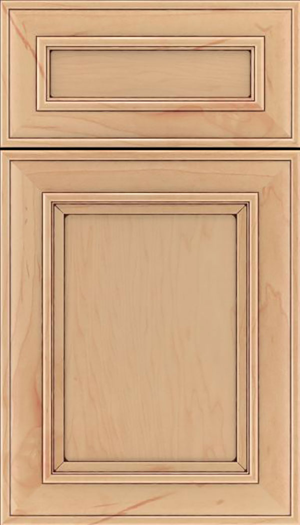 Sheffield 5pc Maple recessed panel cabinet door in Natural with Mocha glaze