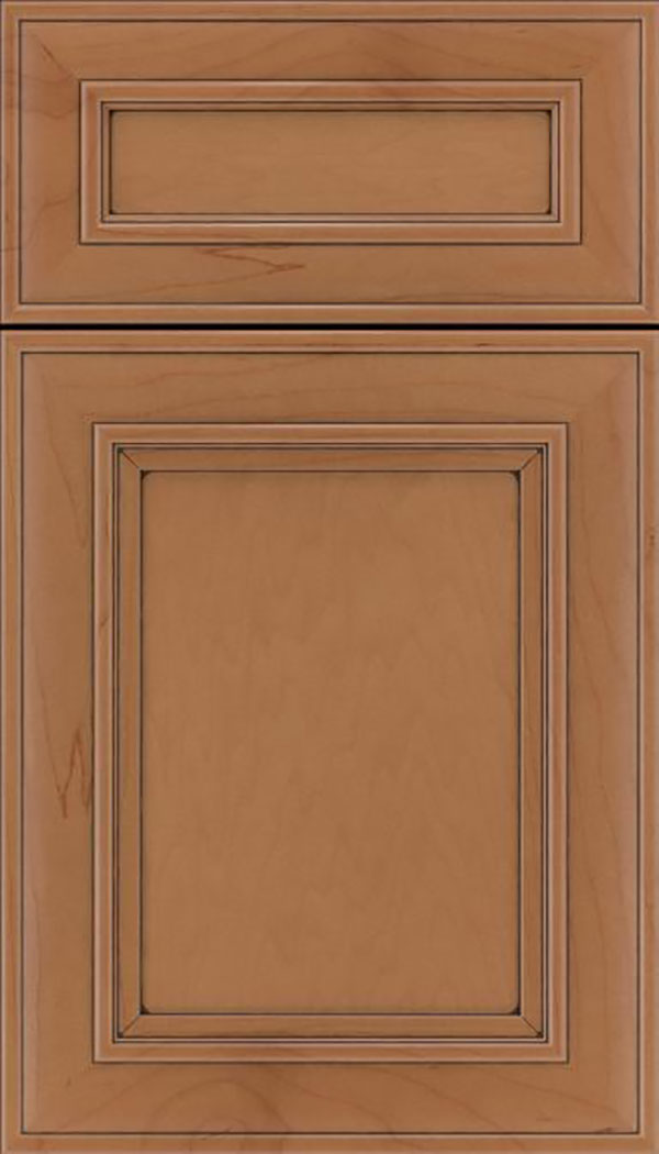 Sheffield 5pc Maple recessed panel cabinet door in Nutmeg with Mocha glaze