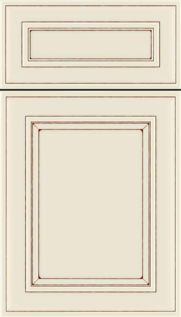 Sheffield 5pc Maple recessed panel cabinet door in Seashell with Mocha glaze