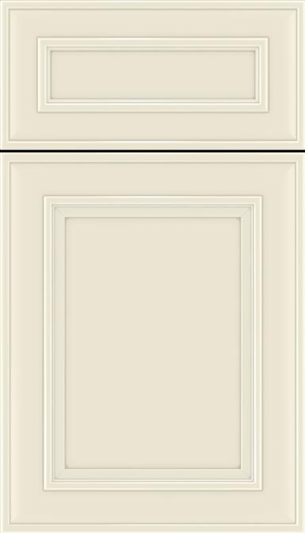Sheffield 5pc Maple recessed panel cabinet door in Seashell with Pewter glaze