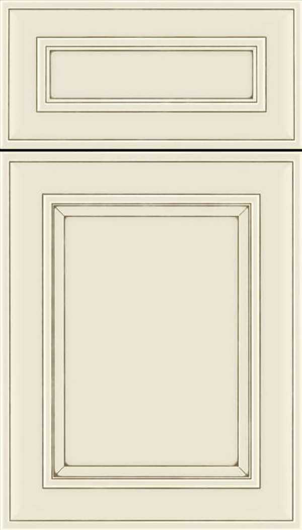 Sheffield 5pc Maple recessed panel cabinet door in Seashell with Smoke glaze