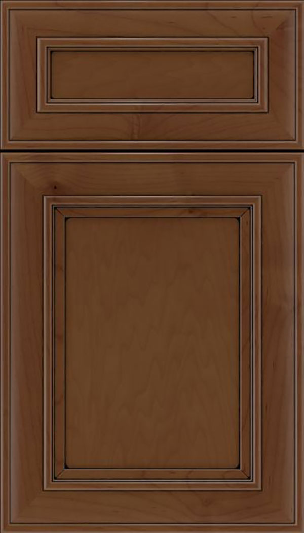 Sheffield 5pc Maple recessed panel cabinet door in Sienna with Black glaze