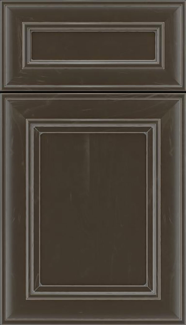 Sheffield 5pc Maple recessed panel cabinet door in Thunder with Pewter glaze