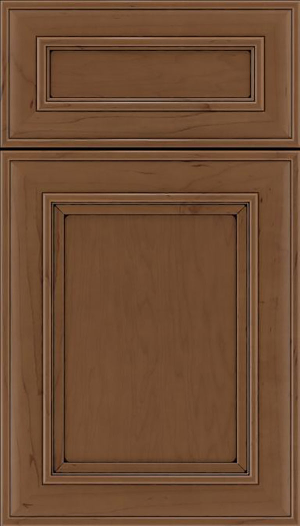 Sheffield 5pc Maple recessed panel cabinet door in Toffee with Black glaze