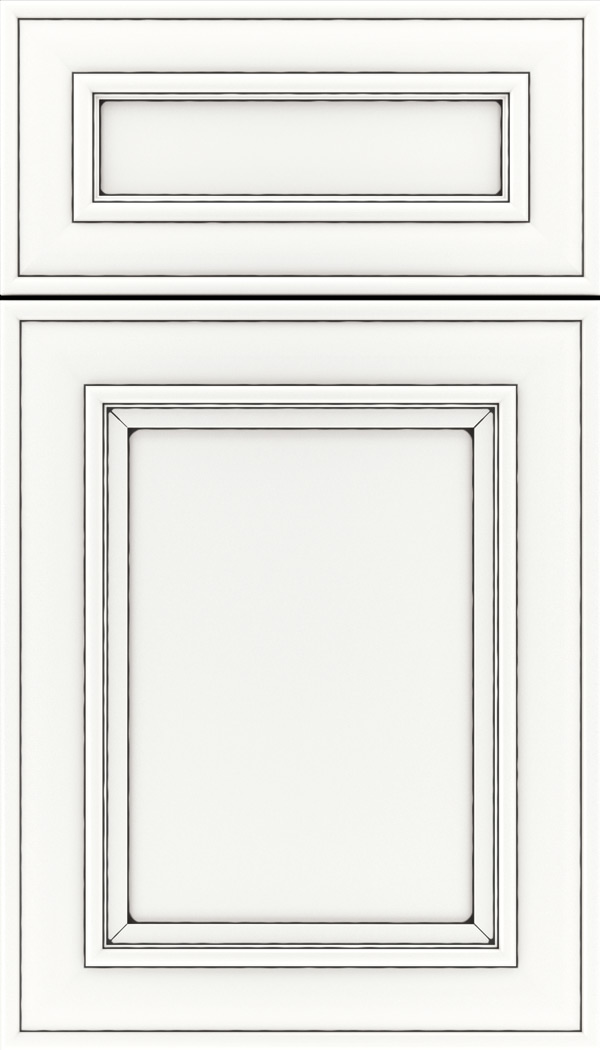 Sheffield 5pc Maple recessed panel cabinet door in Whitecap with Black glaze