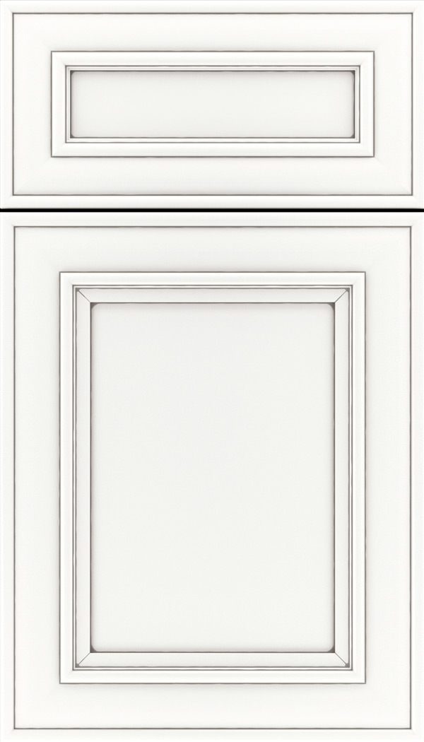 Sheffield 5pc Maple recessed panel cabinet door in Whitecap with Pewter glaze