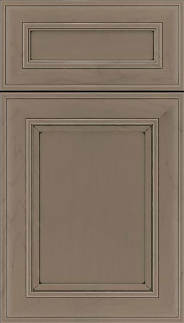 Sheffield 5pc Maple recessed panel cabinet door in Winter with Black glaze