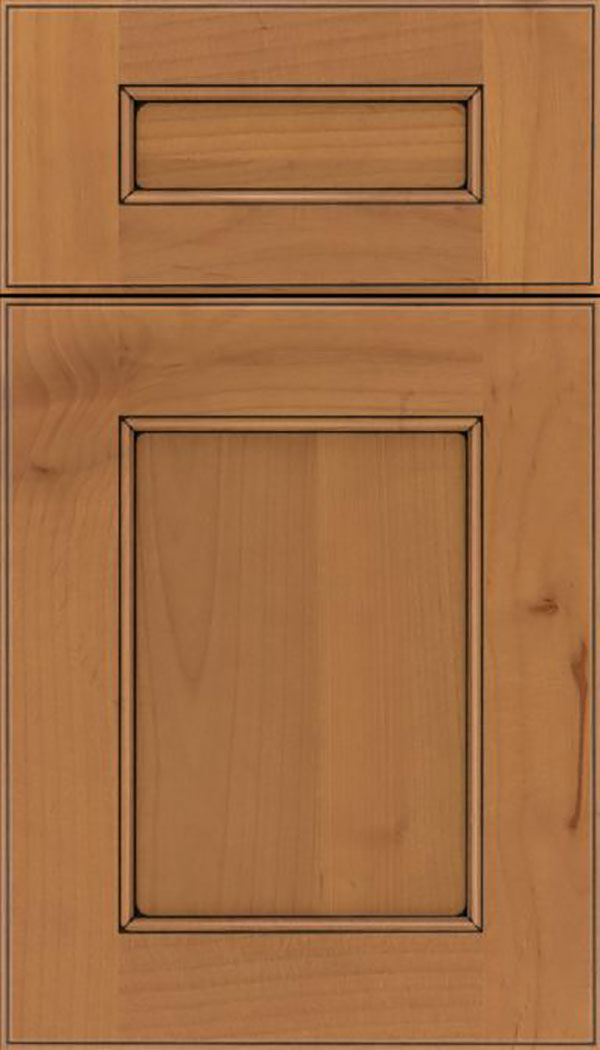 Tamarind 5pc Alder shaker cabinet door in Ginger with Black glaze