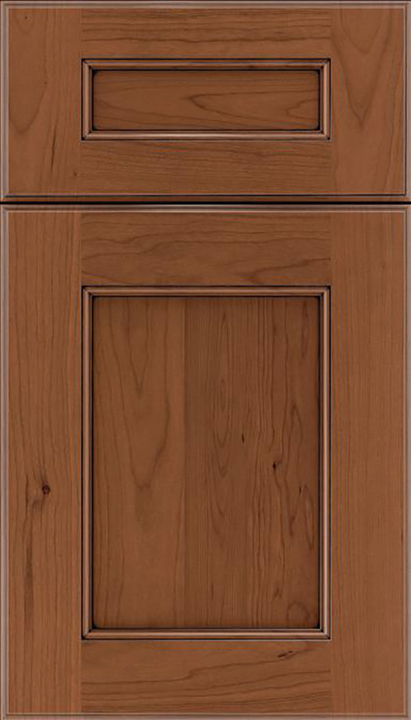 Tamarind 5pc Cherry shaker cabinet door in Nutmeg with Black glaze