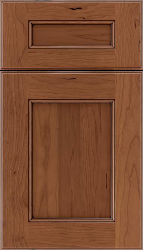 Tamarind 5pc Cherry shaker cabinet door in Nutmeg with Mocha glaze