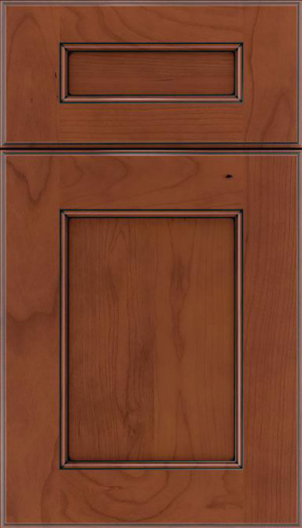 Tamarind 5pc Cherry shaker cabinet door in Russet with Black glaze