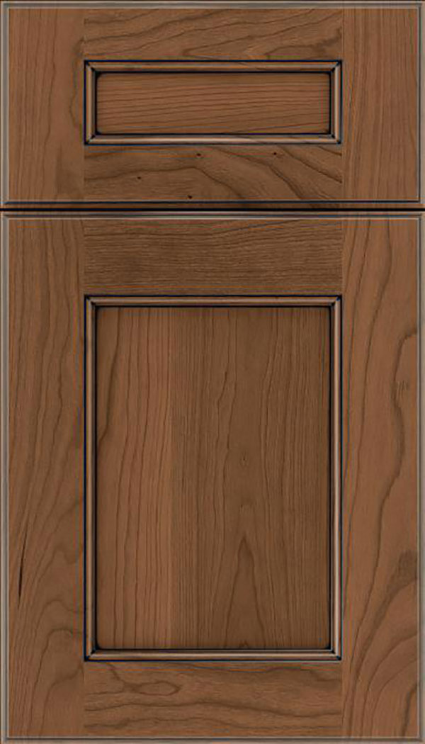 Tamarind 5pc Cherry shaker cabinet door in Toffee with Black glaze