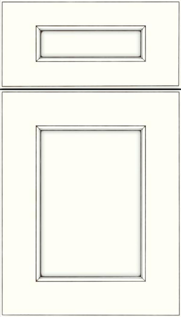 Tamarind 5pc Maple shaker cabinet door in Alabaster with Smoke glaze