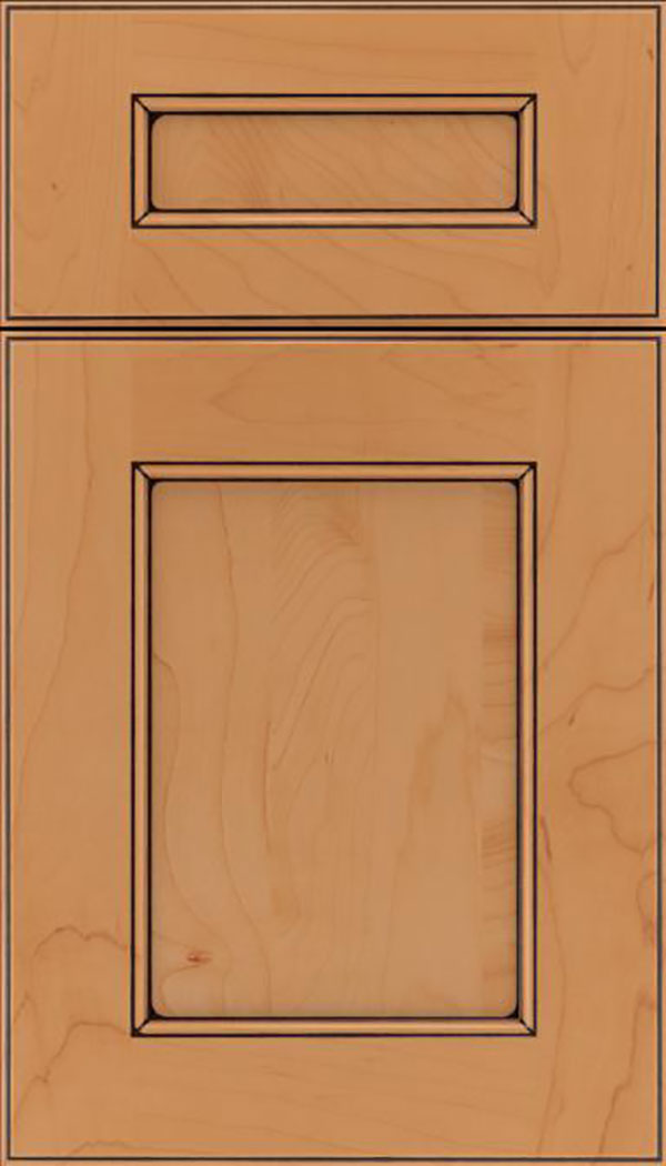 Tamarind 5pc Maple shaker cabinet door in Ginger with Black glaze