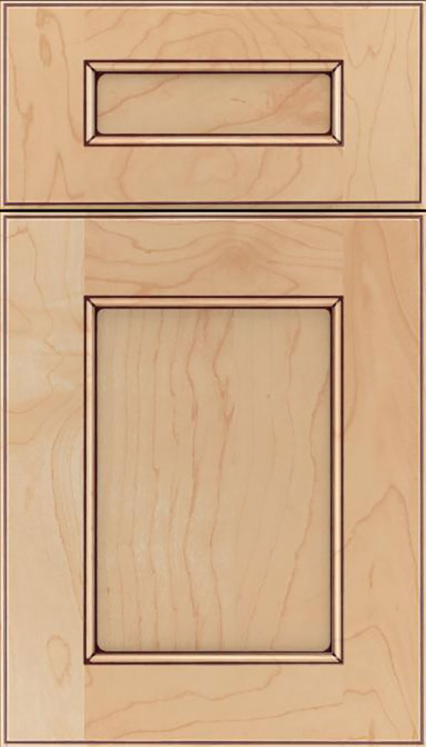Tamarind 5pc Maple shaker cabinet door in Natural with Mocha glaze
