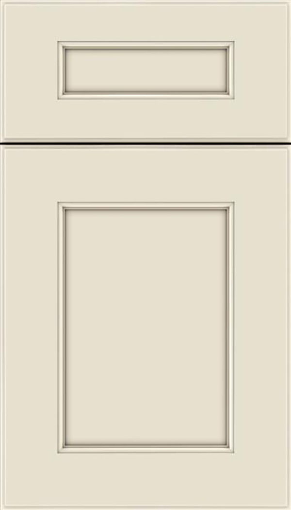 Tamarind 5pc Maple shaker cabinet door in Seashell with Pewter glaze
