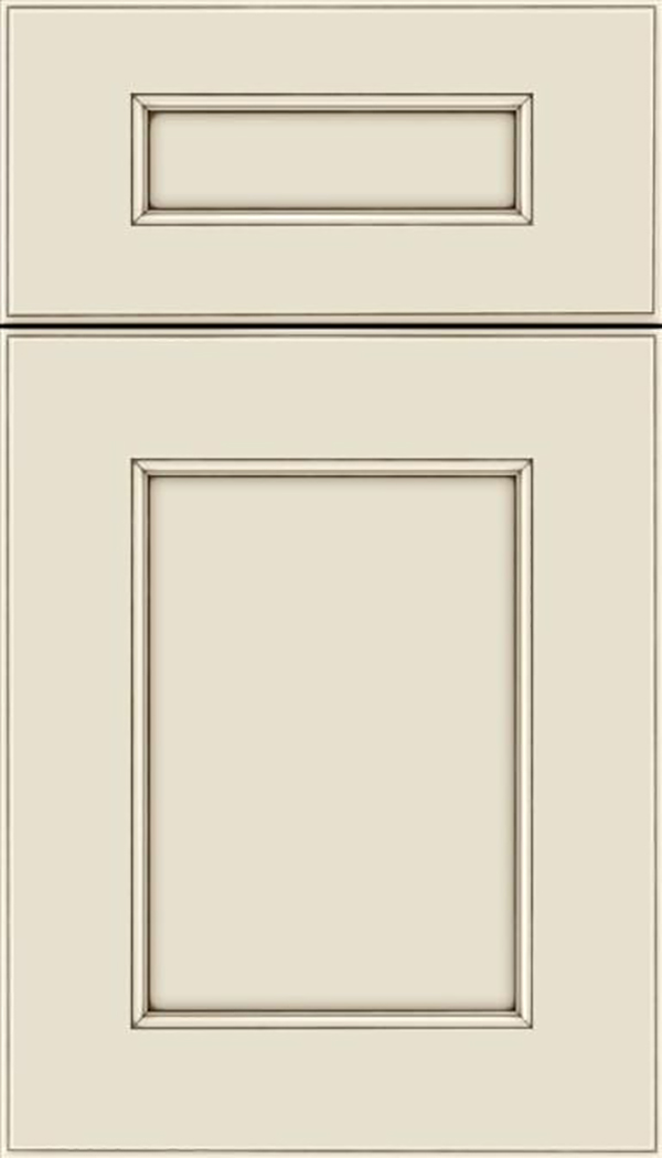 Tamarind 5pc Maple shaker cabinet door in Seashell with Smoke glaze