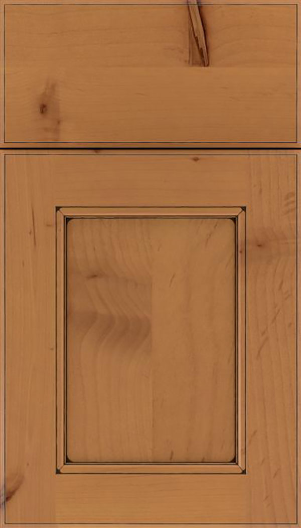 Tamarind Alder shaker cabinet door in Ginger with Black glaze