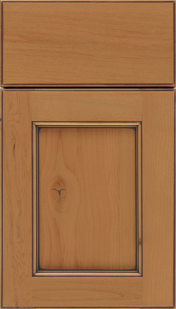 Tamarind Alder shaker cabinet door in Ginger with Mocha glaze