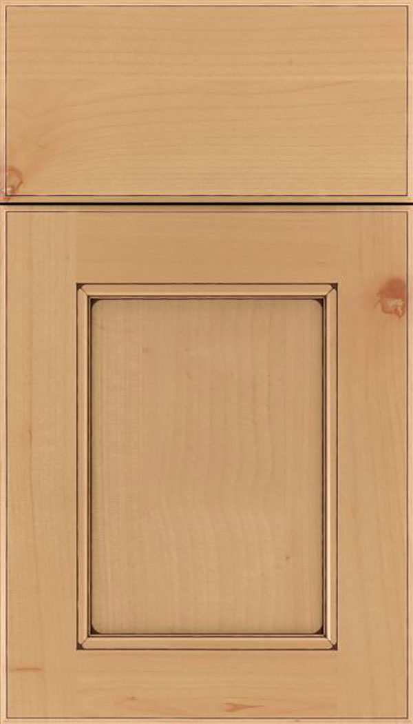 Tamarind Alder shaker cabinet door in Natural with Mocha glaze
