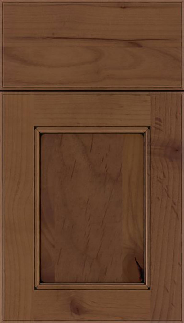 Tamarind Alder shaker cabinet door in Sienna with Black glaze