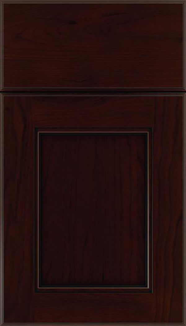 Tamarind Cherry shaker cabinet door in Cappuccino with Black glaze